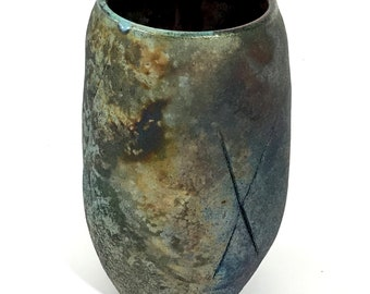 """Small raku """"X"""" vase at 6"""" tall x 3.5"""" wide is alive with colors and textures"""