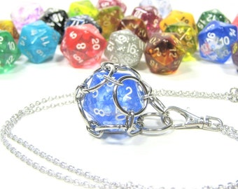 Removable d20 Necklace and Key Chain Combo - Use Your Own Dice! - Comes With One Free Die (Random) - Stainless Steel Chainmaille