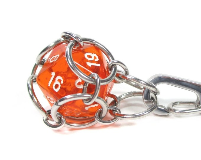 Removable Translucent d20 Necklace or Key Chain - Choice of Colors - Stainless Steel Chainmaille