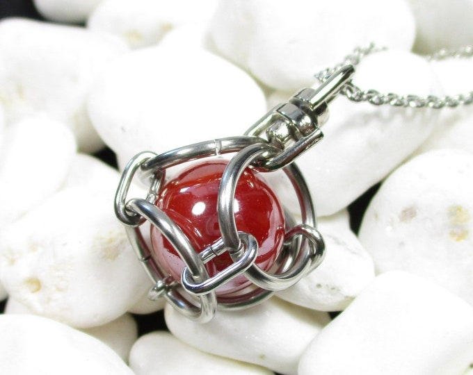 Chainmail Caged Marble Pendant - 50+ Color Options
