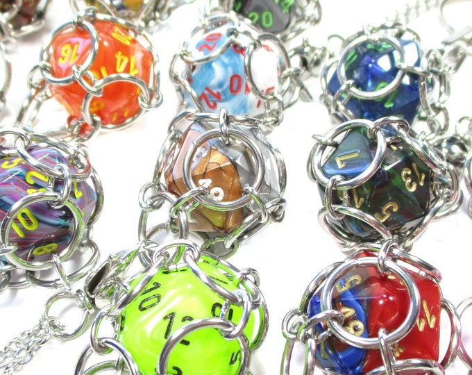 Bulk d20 Holder Necklaces and Key Chains - Stainless Steel Chainmaille - Vendor Stock