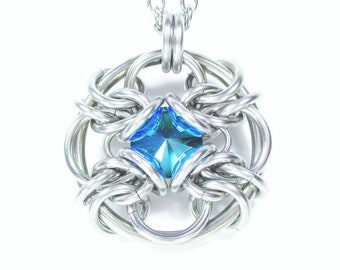 Forbidden Eye Chainmaille Crystal Pendant - Choice of Colors
