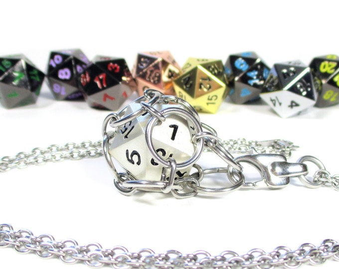 Removable Metal d20 Necklace - Choice of Colors - Stainless Steel Chainmaille