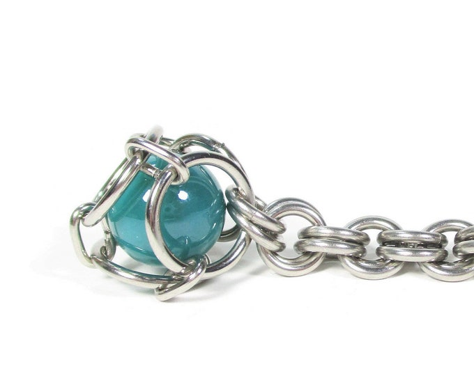 Chainmail Caged Marble Key Chain - 30+ Color Options