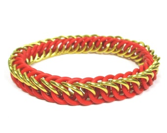 Gryffindor Red & Gold Harry Potter Themed Stretchy Chainmaille Bracelet - Half-Persian 4-in-1