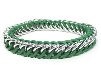 Slytherin Silver and Green Harry Potter Themed Stretchy Chainmaille Bracelet - Half-Persian 4-in-1