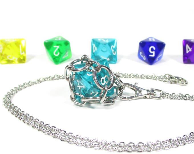 Removable Eight-Sided Dice Necklace - Choice of Colors (Translucent d8s) - Stainless Steel Chainmaille