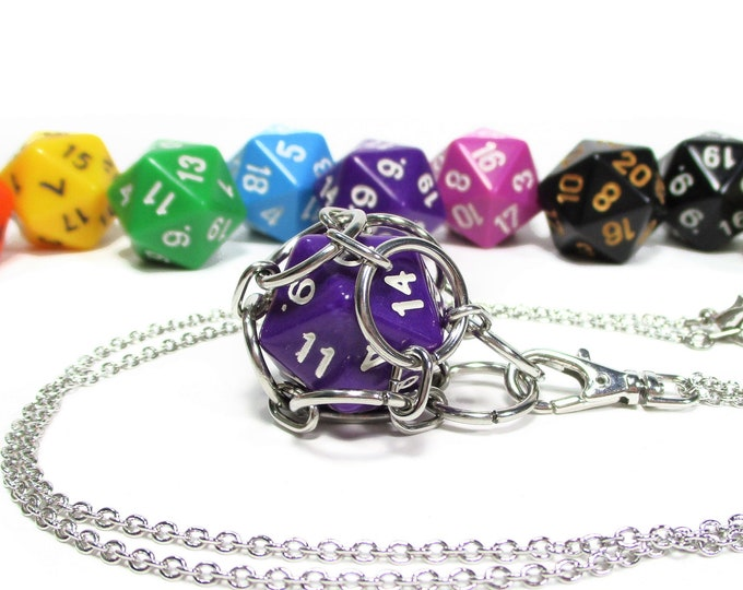 Removable Opaque d20 Necklace - Choice of Colors - Stainless Steel Chainmaille