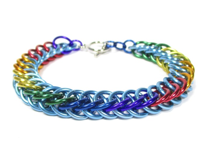 Rainbow Dash MLP Themed Chainmaille Bracelet - Light Blue and Rainbow - For the athlete who still loves a good nap!
