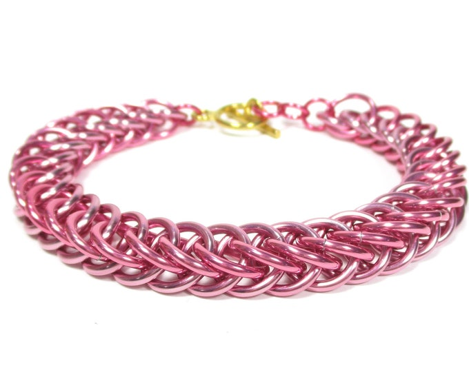 Pinkie Pie MLP Themed Chainmaille Bracelet - Pink and Rose - The perfect gift for the friend who can get anyone to smile!