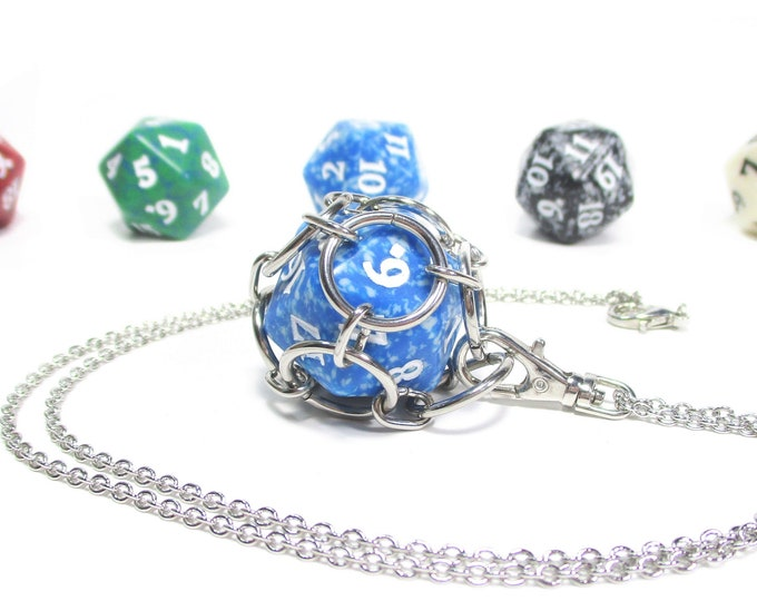 Removable MtG Health Counter Necklace - Choice of Colors - Stainless Steel Chainmaille