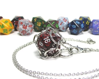 Removable Speckled d20 Necklace - Choice of Colors - Stainless Steel Chainmaille