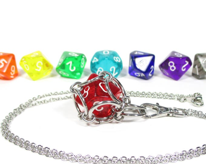 Removable Ten-Sided Dice Necklace - Choice of Colors (Translucent d10s) - Stainless Steel Chainmaille