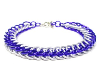 Rarity MLP Themed Chainmaille Bracelet - White and Purple - The perfect gift for a generous brony or pegasister in your life!