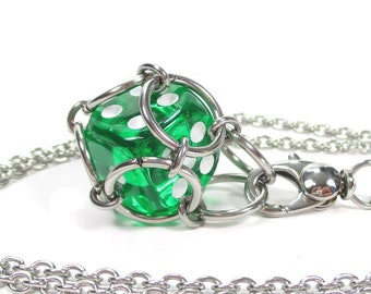 Removable Six-Sided Dice Necklace or Key Chain - Choice of Colors (Translucent Pipped d6) - Stainless Steel Chainmaille