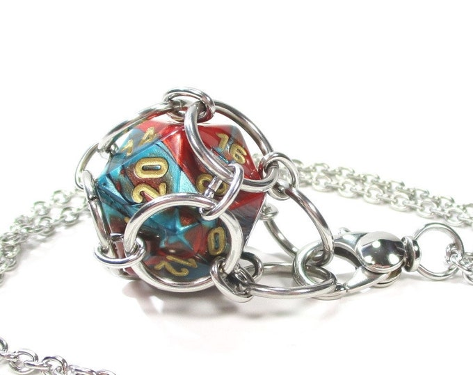 Removable Multi-Colored d20 Necklace or Key Chain - Choice of Colors - Stainless Steel Chainmaille