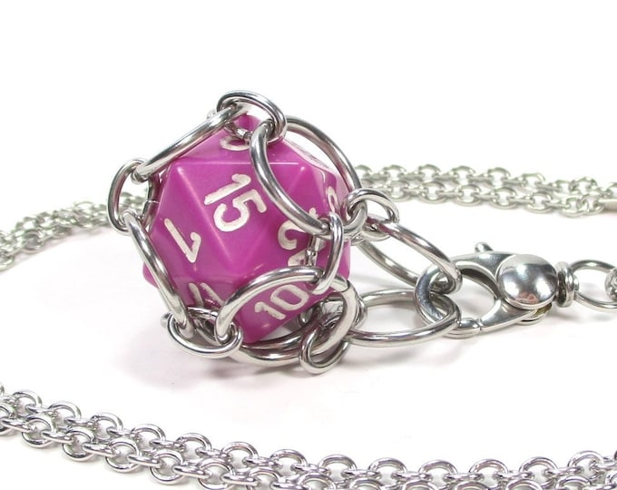 Removable Opaque d20 Necklace or Key Chain - Choice of Colors - Stainless Steel Chainmaille