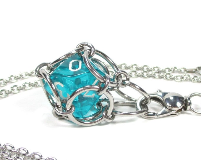 Removable Ten-Sided Dice Necklace or Key Chain - Choice of Colors (Translucent d10) - Stainless Steel Chainmaille