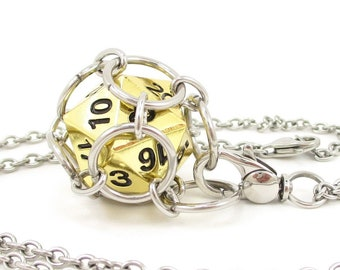 Removable Metal d20 Necklace or Key Chain - Choice of Colors - Stainless Steel Chainmaille