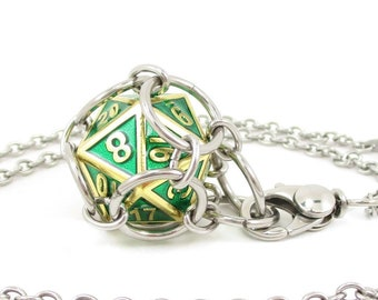 Removable Premium Metal d20 Necklace or Key Chain - Choice of Colors - Stainless Steel Chainmaille