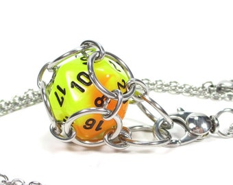 Removable Mystery d20 Necklace or Key Chain - Use Your Own Dice! - Comes With One Free Die (Random) - Stainless Steel Chainmaille