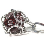 Removable Speckled d20 Necklace or Key Chain - Choice of Colors - Stainless Steel Chainmaille