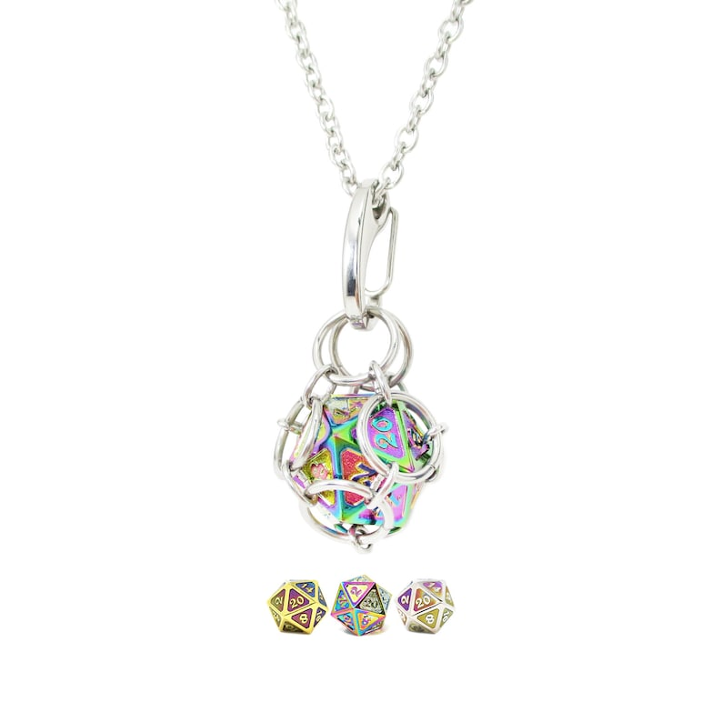 Removable d20 Necklace  Scorched Rainbow Metal Dice  image 0