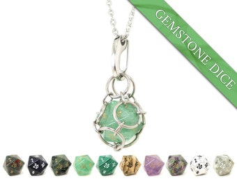 REAL Gemstone Removable d20 Dice Jail Pendant - Stainless Steel Chainmail Necklace and Key Chain With Semi-Precious Stone Die