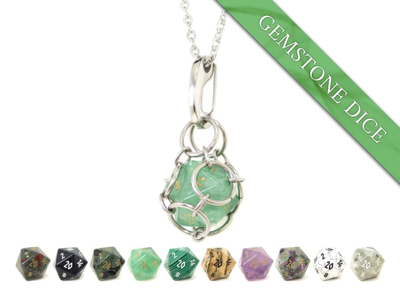 REAL Gemstone Removable d20 Dice Jail Pendant  Stainless image 0