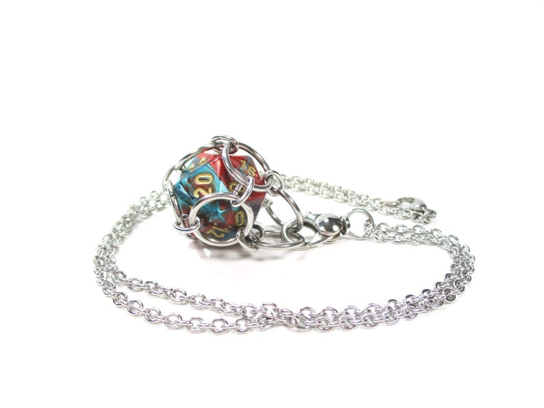 Removable Multi-Colored d20 Necklace or Key Chain  Choice of image 0
