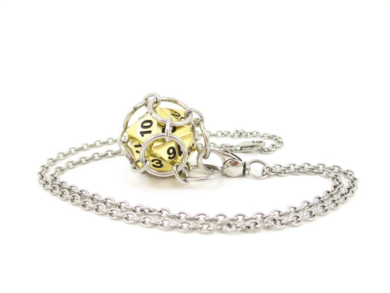 Removable Metal d20 Necklace or Key Chain  Choice of Colors  image 0