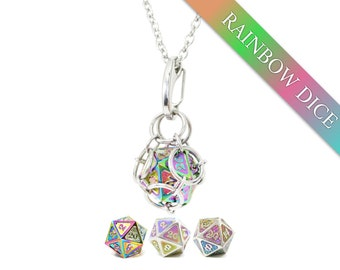 Removable d20 Jail Pendant - Rainbow Dice - Metal d20 in Stainless Steel Chainmail Necklace - Includes Key Chain
