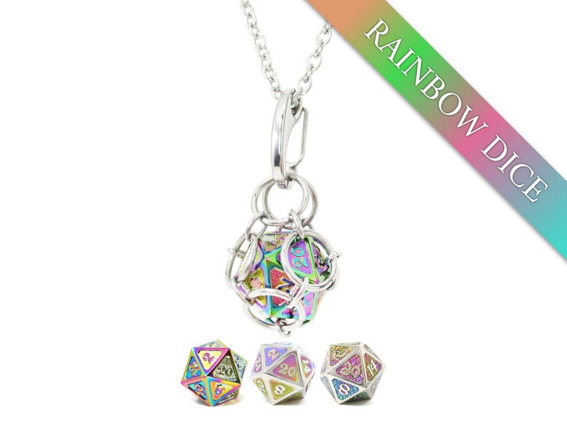 Removable d20 Jail Pendant  Rainbow Dice  Metal d20 in image 0