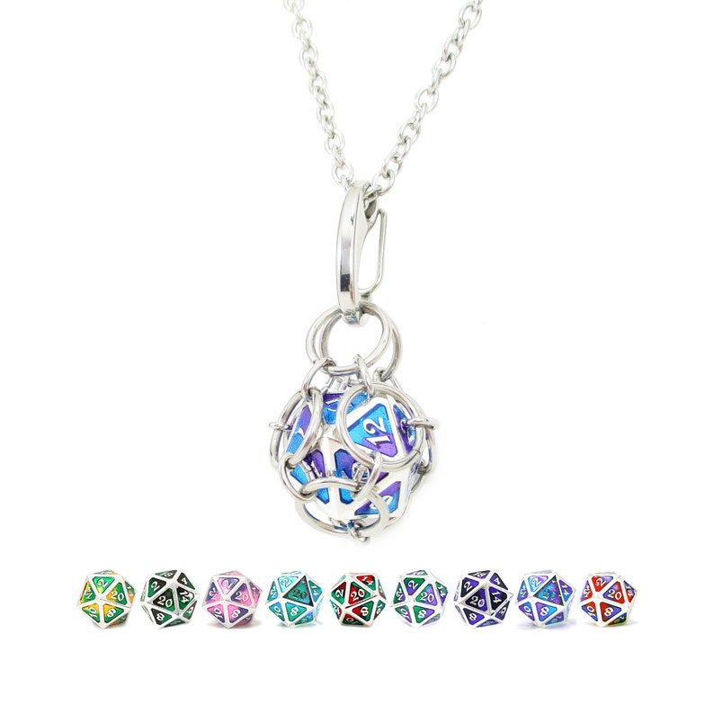 Removable d20 Necklace  Spellbinder Metal Dice  Stainless image 0
