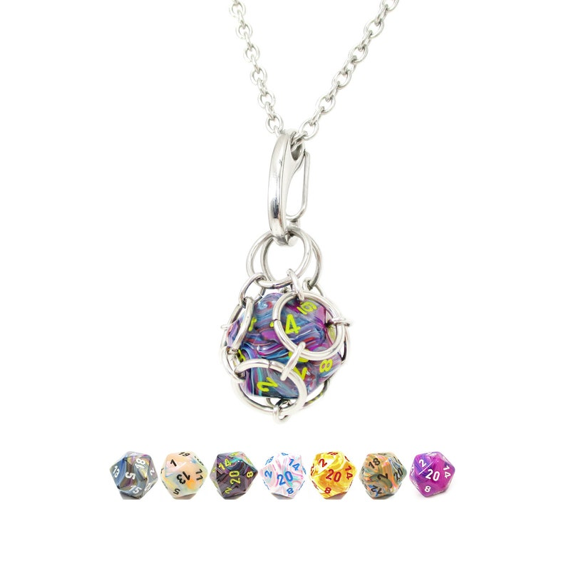 Removable d20 Necklace  Festive Dice  Stainless Steel image 0