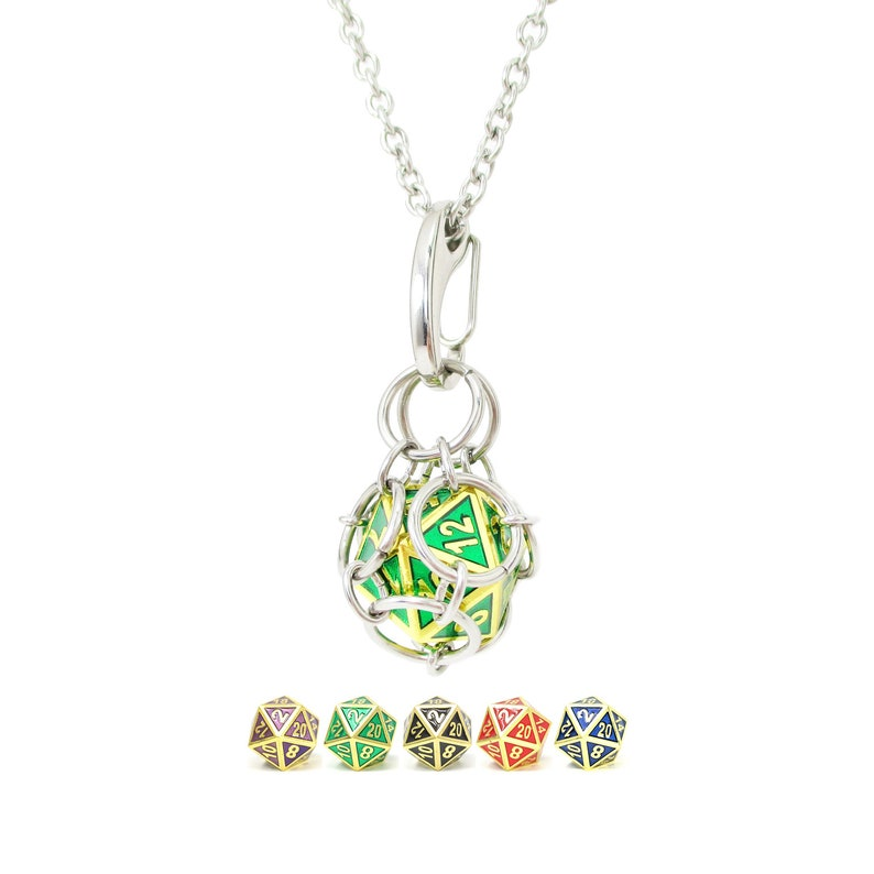 Removable d20 Necklace  Gold Gemstone Metal Dice  Stainless image 0