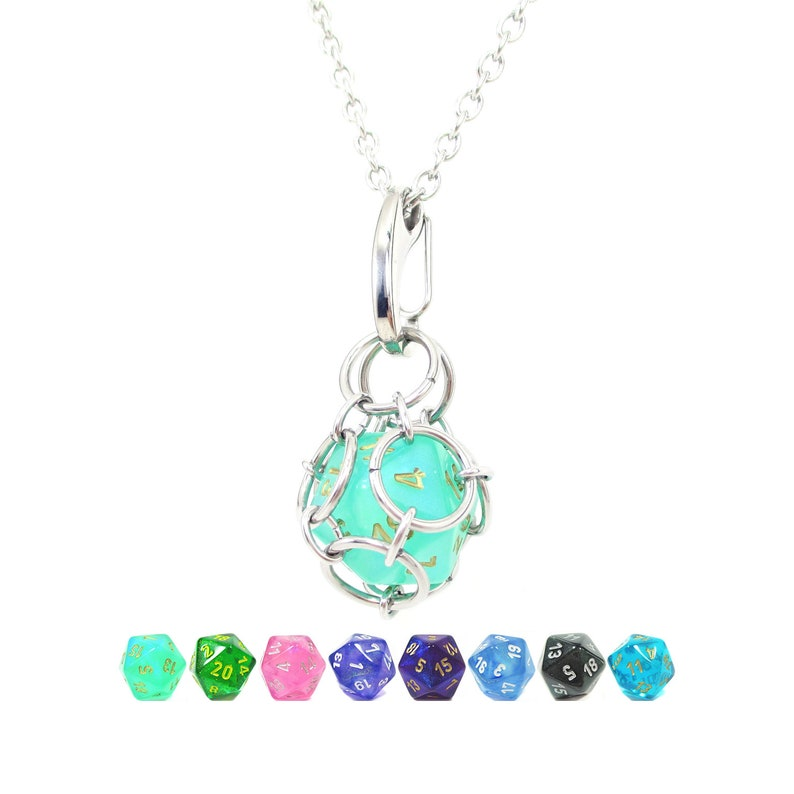 Removable d20 Necklace  Borealis Dice  Stainless Steel image 0