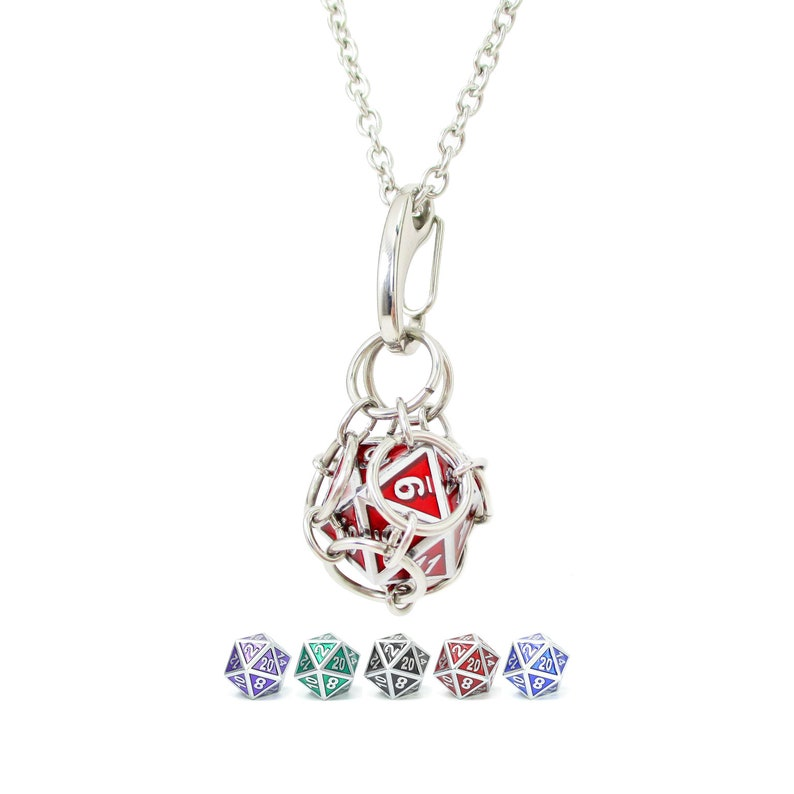 Silver Gemstone Metal Dice Jail Necklace  Dice Are Removable image 0