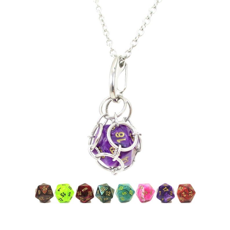 Removable d20 Necklace  Chessex Signature Dice  Stainless image 0