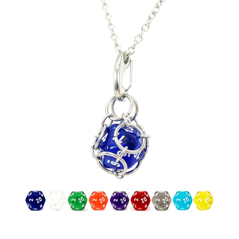 Removable d20 Necklace  Translucent Dice  Stainless Steel image 0