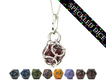 Removable d20 Jail Pendant - Speckled Dice - d20 in Stainless Steel Chainmail Necklace and Key Chain