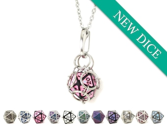 Removable d20 Jail Pendant - NEW DICE Proving Ground - Metal d20 in Stainless Steel Chainmail Necklace and Key Chain