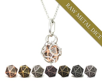 Removable d20 Jail Pendant - Raw Metal Dice - Metal d20 in Stainless Steel Chainmail Necklace and Key Chain