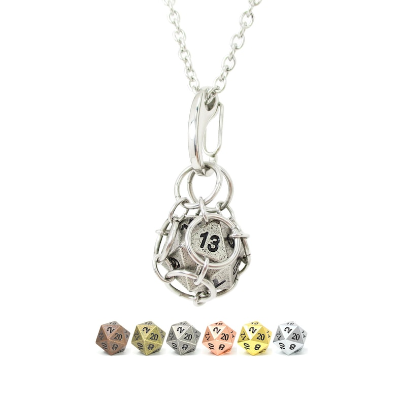 Removable d20 Necklace  Classic Metal Dice  Stainless Steel image 0
