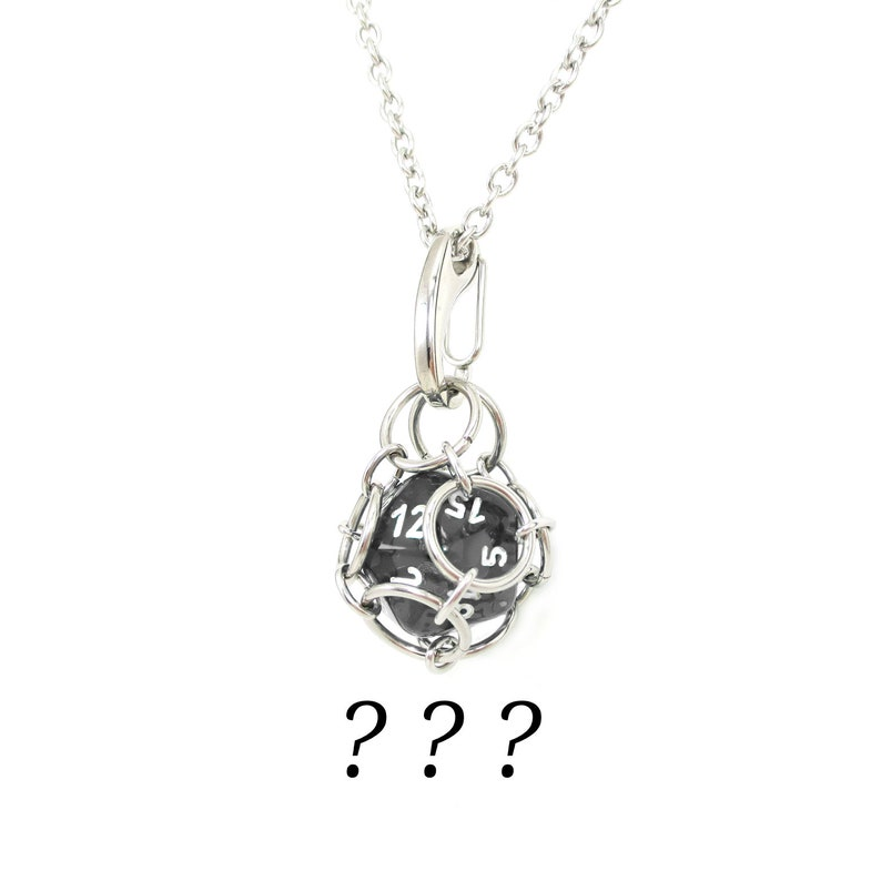 Removable d20 Necklace  Random Dice Use Your Own  image 0