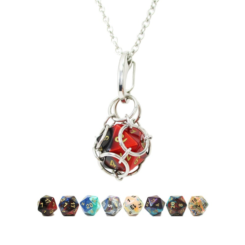Removable d20 Necklace  Multi-Colored Dice  Stainless Steel image 0