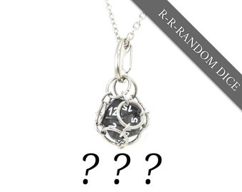 Removable d20 Jail Pendant - Random Dice Included (Use Your Own!) - d20 in Stainless Steel Chainmail Necklace and Key Chain