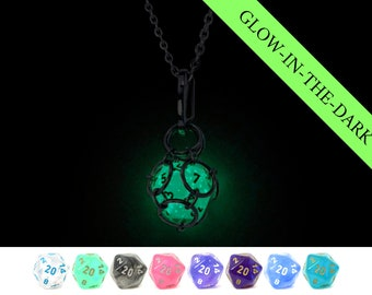 Removable Dice Jail Pendant - Glow In The Dark Chessex Borealis Luminary d20 in Stainless Steel Chainmail Necklace and Key Chain