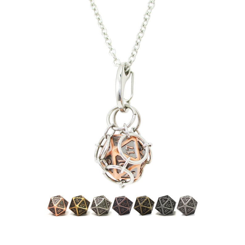 Removable d20 Necklace  Battleworn Metal Dice  Stainless image 0