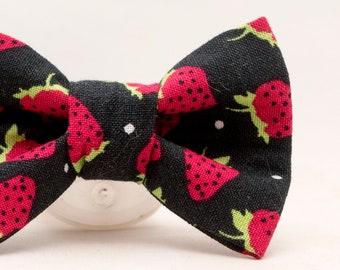 Dapper Cat Strawberries Bow Tie